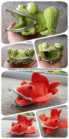 Rate this post Goldfish Coin Purse pattern by Laura Sutcliffe DIY Crochet Frog and Goldfish Large Coin Purses' Pattern from Laura Sutcliffe on Ravelry.DIY Crochet Frog and Goldfish Large Coin Purse Patterns - wonder if I could just use a stuffed animal. Crochet Frog, Crochet Diy, Crochet Amigurumi, Unique Crochet, Crochet Crafts, Yarn Crafts, Crochet Ideas, Crochet Sheep, Diy Crafts