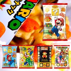 Pizza flavor Mario Chips! Japan only release with 5 different package designs. https://oyatsucafe.com/products/super-mario-pizza-chips