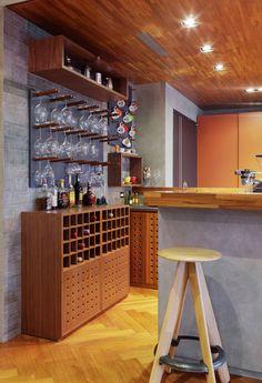 Modern home bar design ideas Mini Bars, Wine Glass Shelf, Glass Shelves, Glass Rack, Interior Design Living Room, Interior Decorating, Cafe Interior, Game Room Bar, Game Rooms