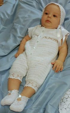 Baby Boy Christening Outfit Crochet Pattern with Lace Jacket, Rompers, Bonnet, and Booties – Baby For look here Baby Girl Crochet, Crochet Baby Clothes, Crochet For Boys, Baby Boy Christening Outfit, Christening Gowns, Boy Crochet Patterns, Baby Patterns, Baby Boys, Baby First Outfit