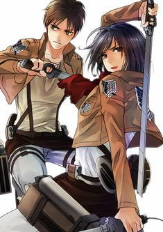 Eren and Mikasa from Shingeki no Kyojin - Attack on Titan.