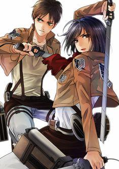 Eren and Mikasa from Shingeki no Kyojin - Attack on Titan.