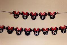 Minnie Mouse Birthday Banner Minnie Mouse por LisasPartyShoppe