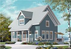 This is a computer-generated image showing the front elevation of these Country House Plans.