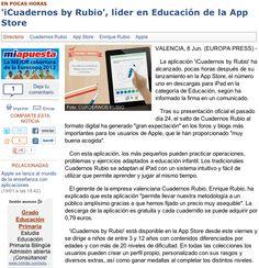 Nota de prensa sobre iCuadernos by Rubio en Europa Press.