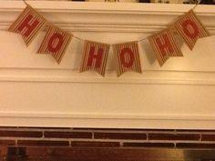 HO HO HO Banner made with Silhouette Cameo and Ikea gift wrap