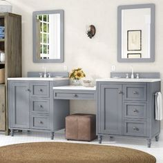 Offers Saving Berlin Double Bathroom Vanity Set By Laurel Foundry Modern Farmhouse White Bathroom, Modern Bathroom, Small Bathroom, Master Bathroom, Basement Bathroom, Bathroom Ideas, Bathroom Cabinets, Bathroom Vanities, Bathroom Designs