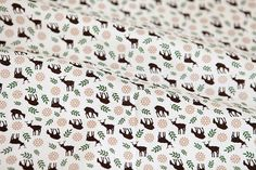 Deer in Forest Cotton Fabric - Black - By the Yard 52326