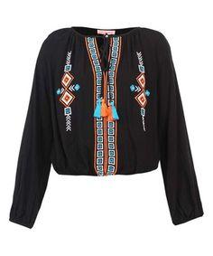 Look at this #zulilyfind! Black & Turquoise Embroidered Notch Neck Top #zulilyfinds