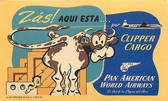 PAN AMERICAN Airways / PAN AM ~Clipper Cargo~ Old COW Airline Luggage Label