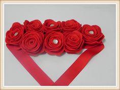 Flor de madeira: Headband Vermelho em feltro com chaton
