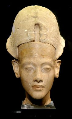 Juvenile Pharaoh Amenhotep IV. Known for his religious revolution, replacing polytheism with the worship of one god only, Aten, or the sun disc. Accordingly, he changed his name to Akhenaten. Limestone bust circa 1350 BCE