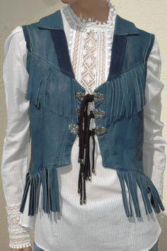 HIGH USE veste cuir 38 fringe leather waistcoat top jacket leder 36 gilet pelle