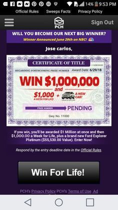 Pch instant wins sweepstakes