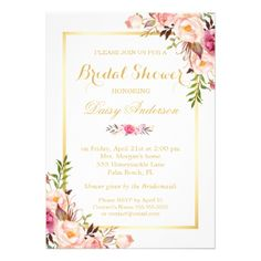 Wedding Bridal Shower Chic Floral Golden Frame Card - click/tap to personalize and buy Invitation Baby Shower, Invitation Paper, Invitation Suite, Invitation Ideas, Invitation Templates, Floral Wedding Invitations, Custom Invitations, Floral Invitation, Party Invitations