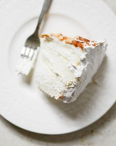 Angel Food Layer Cake with Whipped Coconut Cream and Grapefruit Syrup//