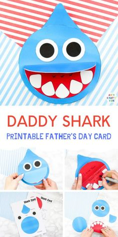How to make a Shark Father's Day card - Inspired by the Baby Shark Song! A super cute printable shark craft that's perfect for shark week and an 'ocean animal' themed topic at school. day cards for kids to make How to Make a Shark Father's Day Card Kids Fathers Day Crafts, Fathers Day Art, Easy Crafts For Kids, Toddler Crafts, Diy For Kids, Gifts For Kids, Toddler Fathers Day Gifts, Simple Crafts, Creative Crafts