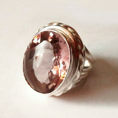 .925 Sterling Silver Pink Quartz Large Dome Ring New without tag Jewelry Rings