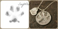 Dog or Cat Paw Necklace made from your Pet's Actual Paw Print LOVE this to