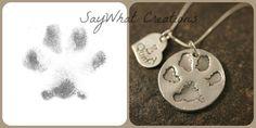 Hund oder Katze Paw Collier aus Ihres Haustieres tatsächliche Paw Print