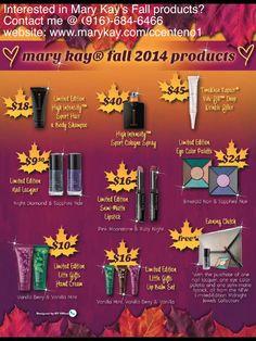 Mary Kay's Fall line  www.marykay.com/ccenteno1