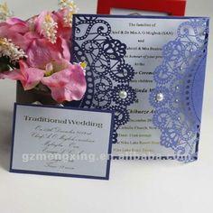 EA442 --- Royal blue latest wedding card designs