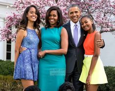 President Barack Obama & First Lady Michelle With Daughters | Etsy Runway Models, Malia And Sasha, Malia Obama, Michelle And Barack Obama, Parenting Styles, Jolie Photo, Prom Dresses, Formal Dresses, Celebrity Gossip