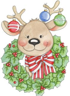 CHRISTMAS REINDEER, WREATH AND ORNAMENTS CLIP ART