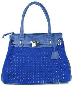 Blue Padlock Diamante Tote Handbag, £17.99