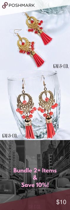 "Gold-Tone Tassel Earrings with Filigree Details Gold-Tone Tassel Earrings with Filigree Details & Faux Leather Tassels. Colored, Crystal beads. Gold Tone Hardware. Size: 3.5"" Beautiful shade of Coral! PRICE FIRM. No Trades.   Thank you for stopping by my closet! Please let me know if you have any questions or if I may assist you! 🔮GM Jewelry Earrings"
