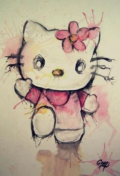 Hello Kitty Watercolor. I could see this as a tattoo.