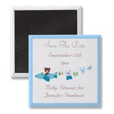 Cute teddy bear in plane with clothesline trailing behind blue customizable Baby Shower Save the Date magnets