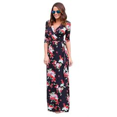 Kshion Women V Neck Boho Long Maxi Evening Party Beach Dress Floral Sundress >>> More info could be found at the image url. (This is an affiliate link) #MountsandStands