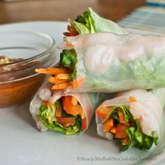 """Spring Rolls with Almond Butter """"No Peanut"""" Sauce"""