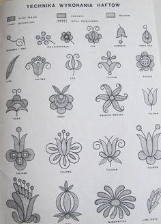 Folk Embroidery Polish embroidery patterns More Polish Embroidery, Crewel Embroidery Kits, Hungarian Embroidery, Embroidery Transfers, Embroidery Needles, Hand Embroidery Patterns, Vintage Embroidery, Embroidery Designs, Machine Embroidery
