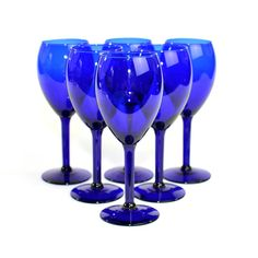 Vintage Cobalt Blue Wine Glass / Water Goblet Set (6): Elegant stemware for dinner or bridal party hosting, coordinated wedding glassware. Available from OneRustyNail on Etsy. ► http://www.etsy.com/shop/OneRustyNail
