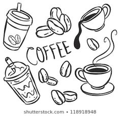 Illustration of coffee doodle vector art, clipart and stock vectors. Coffee Mug Drawing, Coffee Doodle, Coffee Art, Coffee Menu, Doodle Characters, Coffee Icon, Doodle Art Journals, Doodle Patterns, I Love Coffee