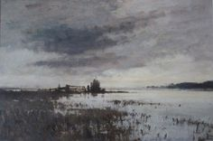 Edward Seago - Winter Flood, Norfolk Back To Previous Page Watercolor Landscape, Abstract Landscape, Landscape Paintings, Watercolor Paintings, Art Paintings, Watercolors, English Artists, Watercolor Techniques, Winter Landscape
