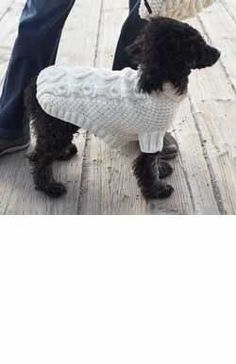 Biscuits & Bones Dog Coat (knit) An adorable doggy-themed cable and a cozy turtleneck. Shown in Patons Canadiana Aran ( (US & (US knitting needles Dog Sweater Pattern, Knit Dog Sweater, Dog Pattern, Cable Sweater, Free Pattern, Crochet Dog Clothes, Pet Clothes, Small Dog Sweaters, Dog Jumpers