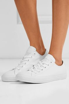 White rubber sole measures approximately 25mm/ 1 inch White leather Lace-up front