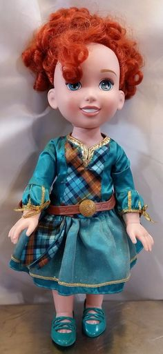 Disney Tollytots Brave Toddler Doll Merida Red Haired Princess w/ Clothing Shoes #Tollytots
