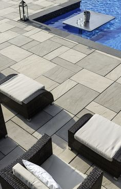 When it comes to patio slabs, some say: go bold or go home. Aberdeen Slabs are massive and luxurious, and could be just what you need. Pool Landscape Design, Landscaping Design, Pool Landscaping, Patio Slabs, Concrete Patio, Swimming Pools Backyard, Swimming Pool Designs, Backyard Patio Designs, Patio Ideas