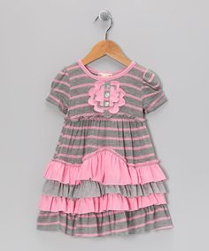 Take a look at this Gray & Pink Stripe Tiered Dress - Toddler & Girls by Pink Vanilla on #zulily today!