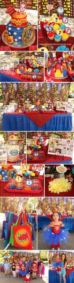 Wonder Woman theme birthday Party. Superhero theme birthday Party. Great ideas!