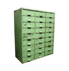Industrial Metal Bins Set of 3 Green Rusty Filing Cabinets for ...