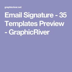 Email Signature - 35 Templates Preview - GraphicRiver