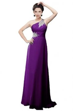 Moonar Embelishment One-shoulder Chiffon Prom Gowns Long Evening Dress