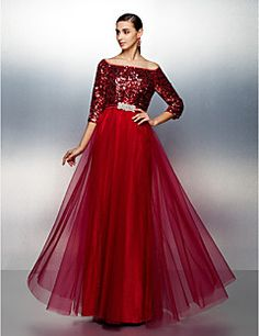 Dress - A-line Bateau Floor-length Tulle/Sequined – USD $ 139.99