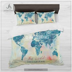 Boho chic world map bedding, Watercolor quote duvet cover set, Modern splashes art bedding set, grunge map duvet, college bedding, dorm decor Bedding set