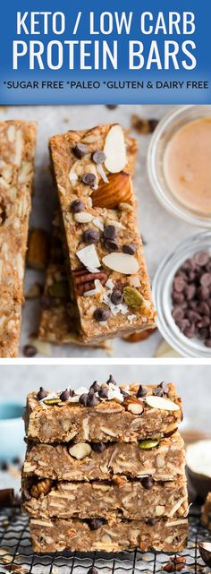 Keto Granola Bars - soft and chewy low carb granola bars are the perfect portable healthy snack for on the go. Best of all, these sugar free snacks are so easy to make with simple gluten free, dairy free Healthy Recipes, Keto Recipes, Snack Recipes, Baking Recipes, Free Recipes, Bar Recipes, Recipes Dinner, Potato Recipes, Drink Recipes
